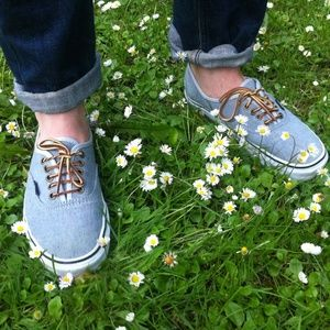 Vans heather grey leather laces heritage sneakers